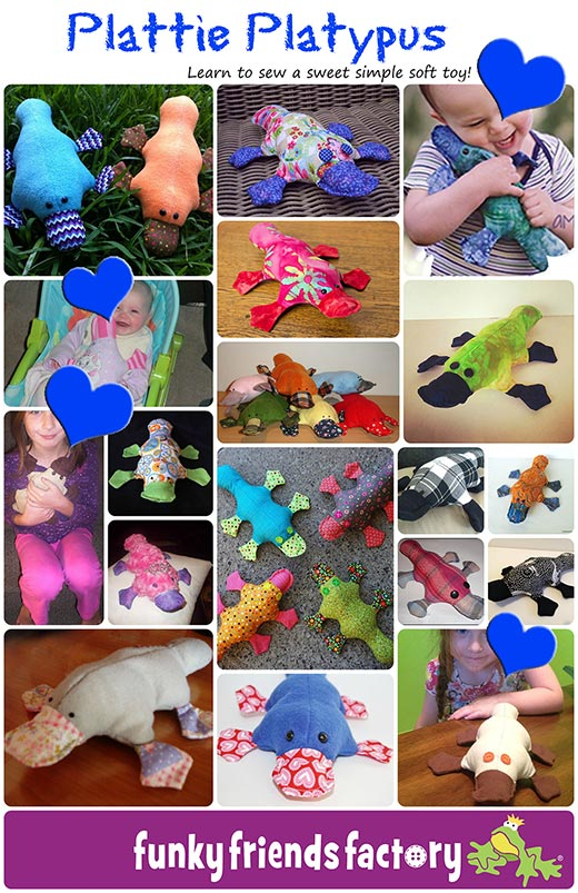 Plattie toy pattern learn to sew easy sewing pattern