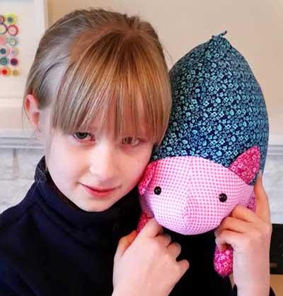 Hannah Hedgehog sewn by 8 year old