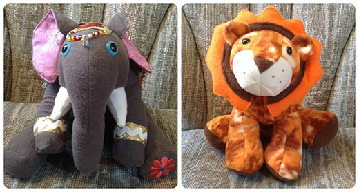 Elephant and Lion fleece toys