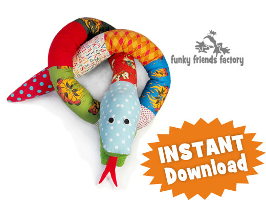 SNAKE soft toy sewing pattern download