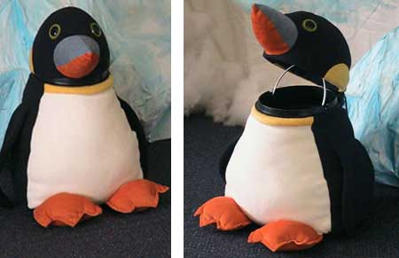 Soft toy penguin pattern bin