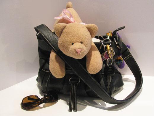 Teddy bear goes fabric shopping online