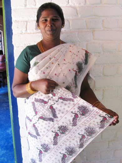 Indian Sari - Peacock fabric
