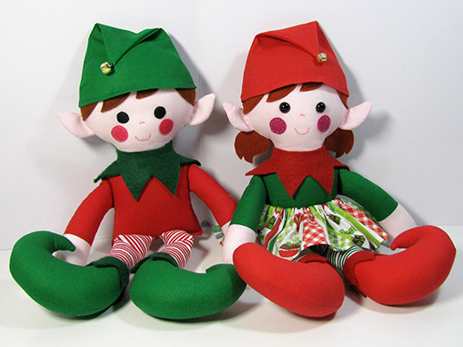 Elf Doll Christmas Sewing Pattern-twins