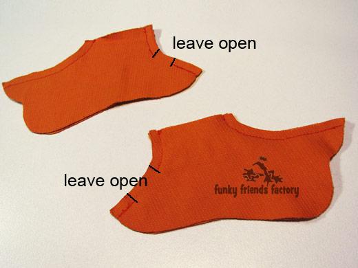 Duck tutorial - sew feet