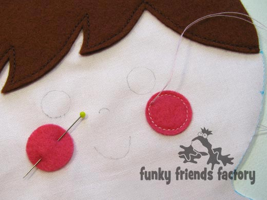 Doll face sew felt cheeks
