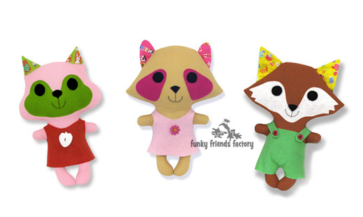 NEW easy patterns for sewing Kawaii Animal Dolls   Funky Friends Factory