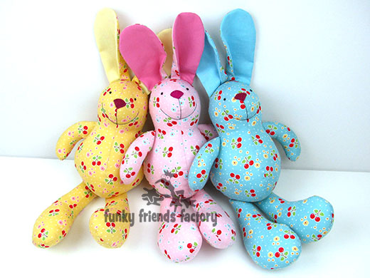 New easter bunny toy kits available funky friends factory for Bunny template for sewing