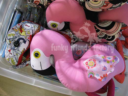Flamingo and T-REX dinosaur toys packed