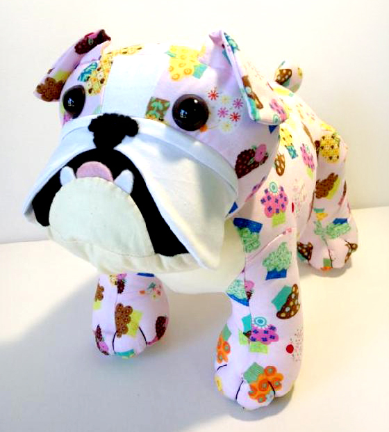Bulldog pink fabric made by Korina - Pauline McArthur - Funky Friends Factory