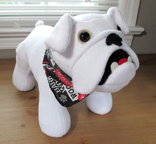 Bulldog white toy fleece pattern