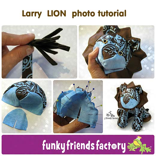Larry Lion Sewing Pattern Photo Tutorial Funky Friends Factory