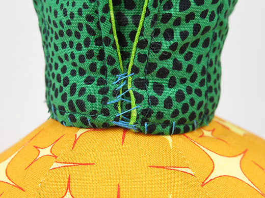 wrap and sew medium leaves together