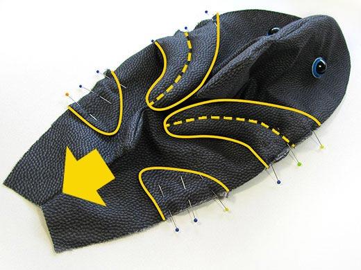 Shark fins point backwards