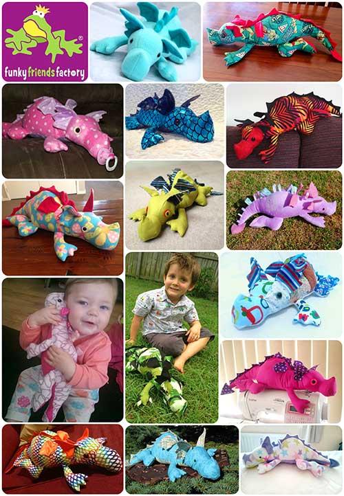 Dragon toy pattern collage web