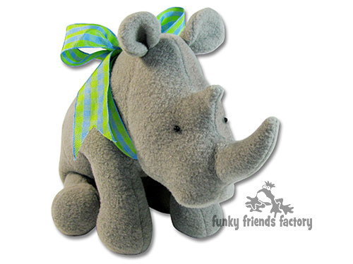 RHINO soft toy pattern made in fleece