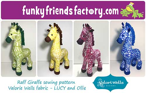 Raff giraffe sewing pattern sewn in Valorie Wells fabric