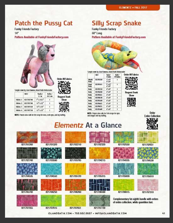 Funky Friends Factory toy patterns sewn in Tamarinis Elementz fabric range Island Batik