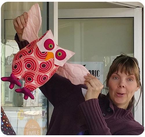 Pauline McArthur outside Voodoo Rabbit Fabric Shop