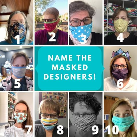 Designers sewing fabric masks