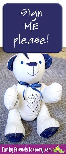 A signature memory bear sewn by Sue Martins