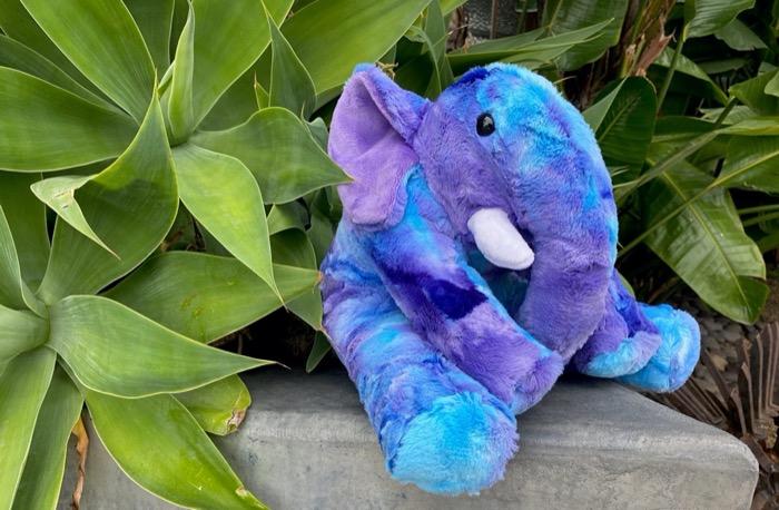 elephant toy sewn in Cuddle fabric