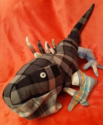 Memory toy Iguana sewn by Sarah M
