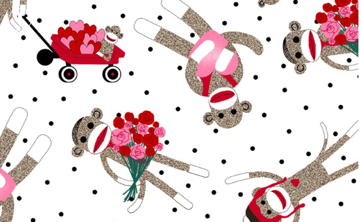 Shannon fabrics Valentine projects monkey fabric