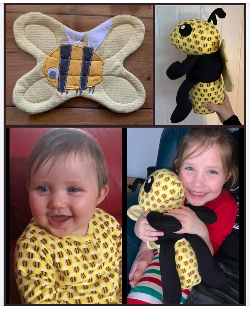 Bee pattern sewn by clairemariesteele
