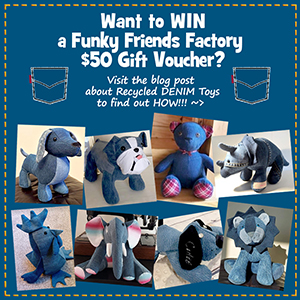 Recycled Denim SEWING COMPETITION – WIN a $50 Funky Friends Factory gift certificate!
