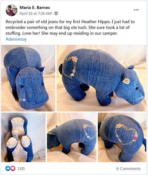 Hippo Pattern sewn in denim by mariabarnes