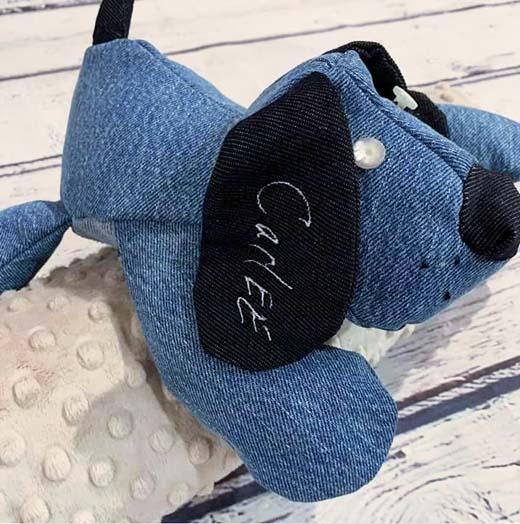Puppy Pete denim sewn by Keri walsh