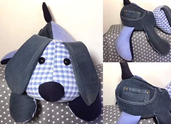 denim dog toy sewn by Emma boulton