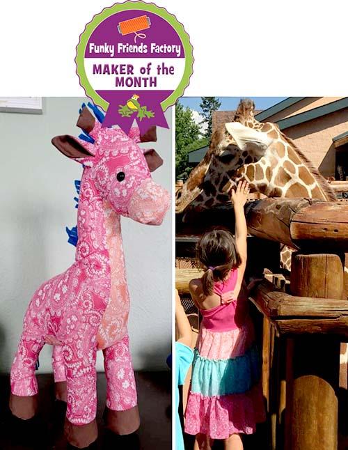 Giraffe sewing pattern sewn by Jennifer Mueller