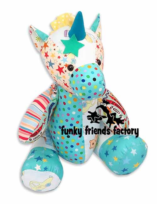 A blue Keepsake Unicorn Memory Toy