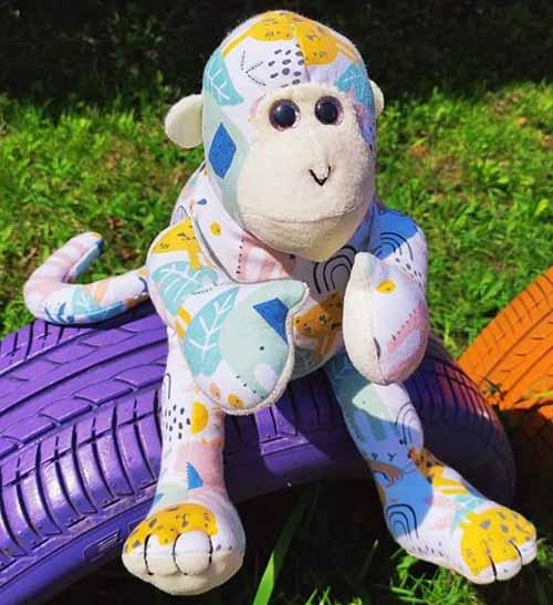 Mitch Monkey 1st birthday keepsake sewn by OrsolyaCzili