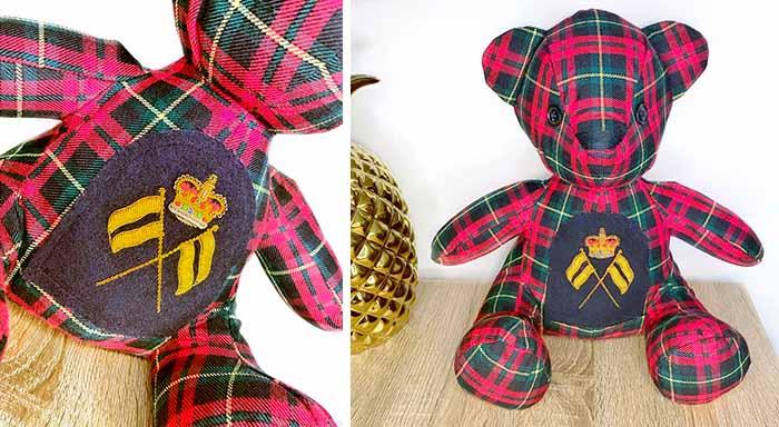 Tartan keepsake version of Melody Bear Pattern sewn by Jasmin
