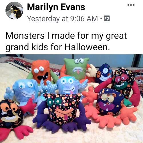 Monster Pattern sewn for Halloween by Marilyn Evans