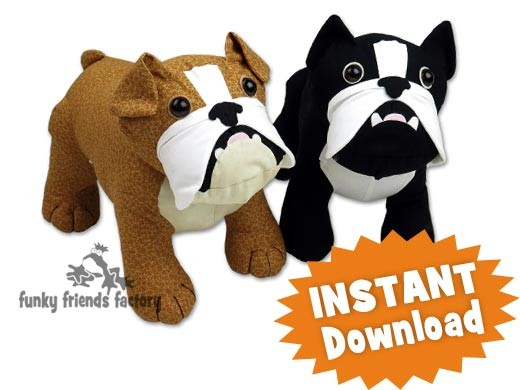 Butch & Bella the Bulldogs INSTANT DOWNLOAD Stuffed Animal Toy ...