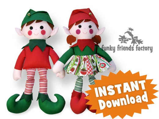 Elf CHRISTMAS Twins Doll INSTANT DOWNLOAD Sewing Pattern PDF Interesting Elf Pattern