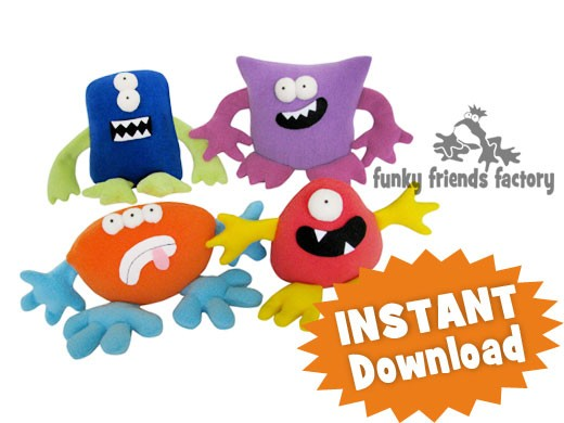 Monsters Mix Match Plushies Instant Download Sewing Pattern Pdf