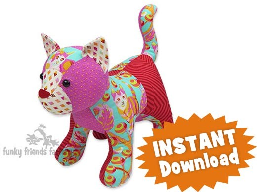 Patch Pussy Cat INSTANT DOWNLOAD Sewing Pattern PDF