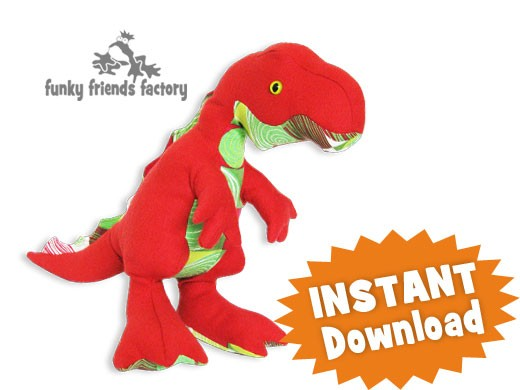 Timmy T Rex Soft Toy Sewing Pattern Instant Download