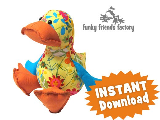 Soft Toy Patterns : Dilby duckling instant download sewing pattern pdf