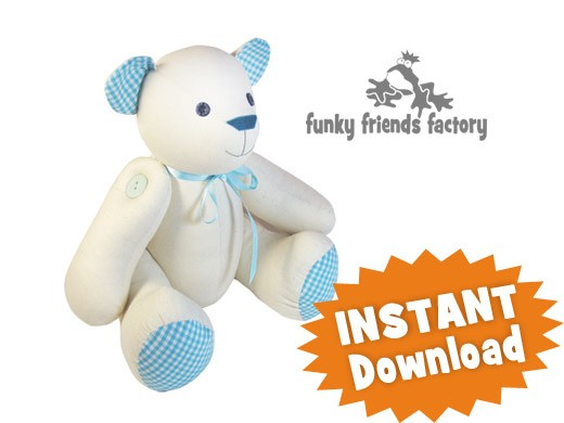 Signature Bear Calico Teddy Bear Instant Download Sewing
