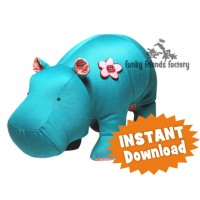 Heather hippo soft toy sewing pattern PDF download