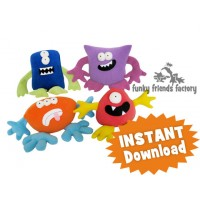 Monsters Mix & Match Plushies Sewing Pattern INSTANT DOWNLOAD