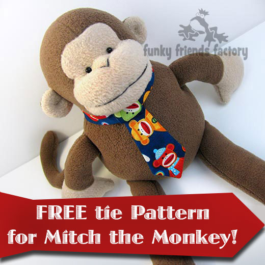 2434bd2d07dca0 NEXT up is this FREE toy TIE Pattern that I designed for Mitch the monkey.  I am sure the tie can be adapted for other Funky Friends toys and dolls if  you ...